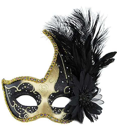 125ad8a27889 Amazon.com: Masquerade Mask Halloween Ball Mask Christmas Costume Party  Mask with Feather: Clothing