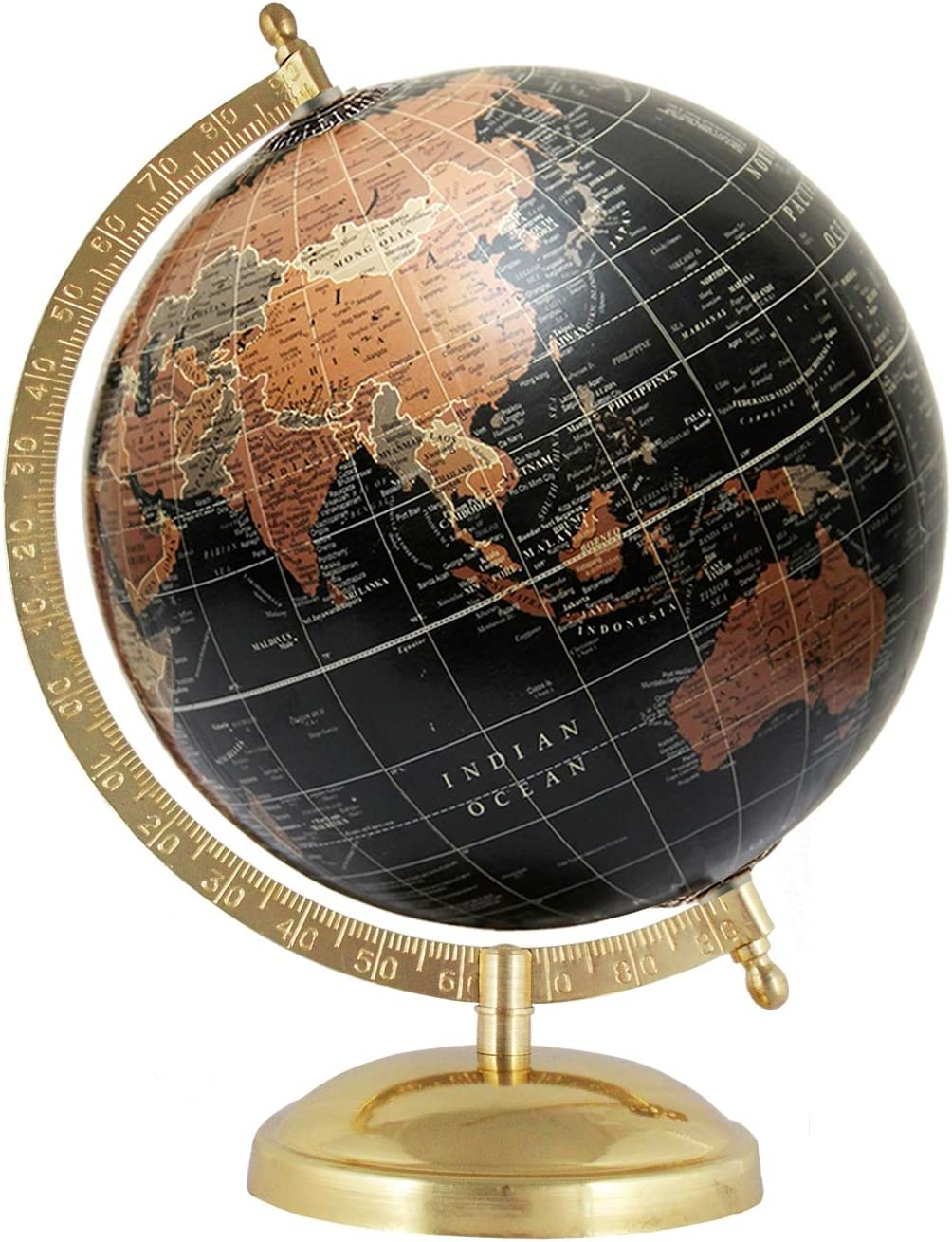 MasterpieceIndia Rotating Globe Black Home Office Decor Decorative World Map 8 Inches Diameter Geography Handmade Antique Gift