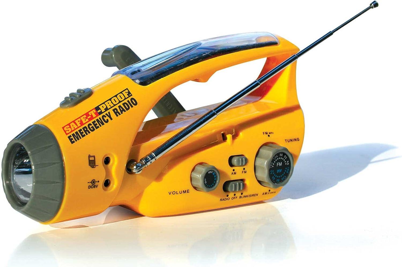 Image of a solar/handcrank yellow flashlight with radio tuning and antenna.
