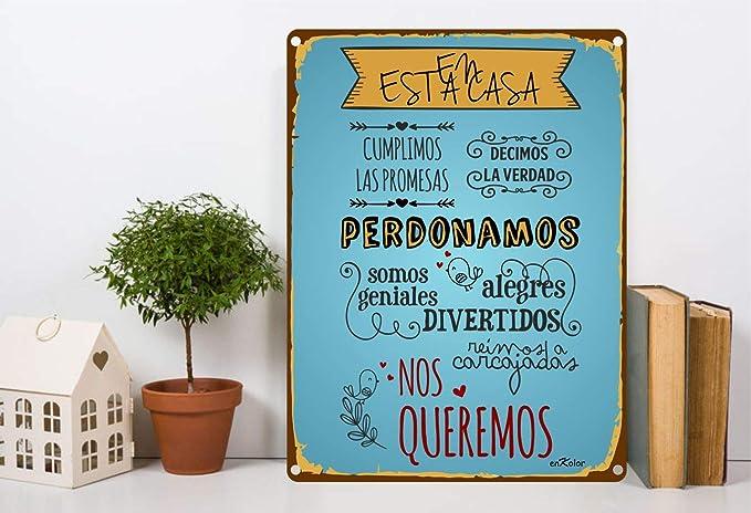 Enkolor/Chapas Decorativas Pared/Carteles Vintage/Decoración Rústica/Placa Retro para tu Hogar/Cuadros metálicos con Frases sobre Normas de la ...