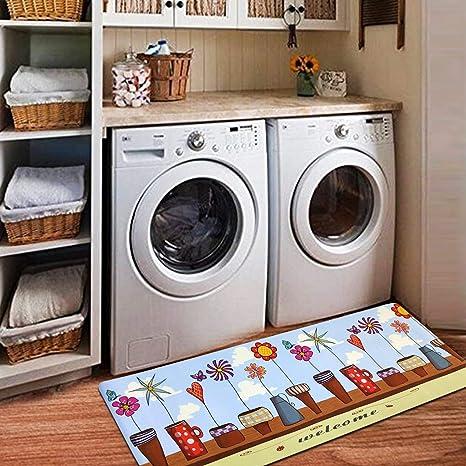 Amazoncom Ustide Floral Kitchen Rug Laundry Room Rug Waterproof