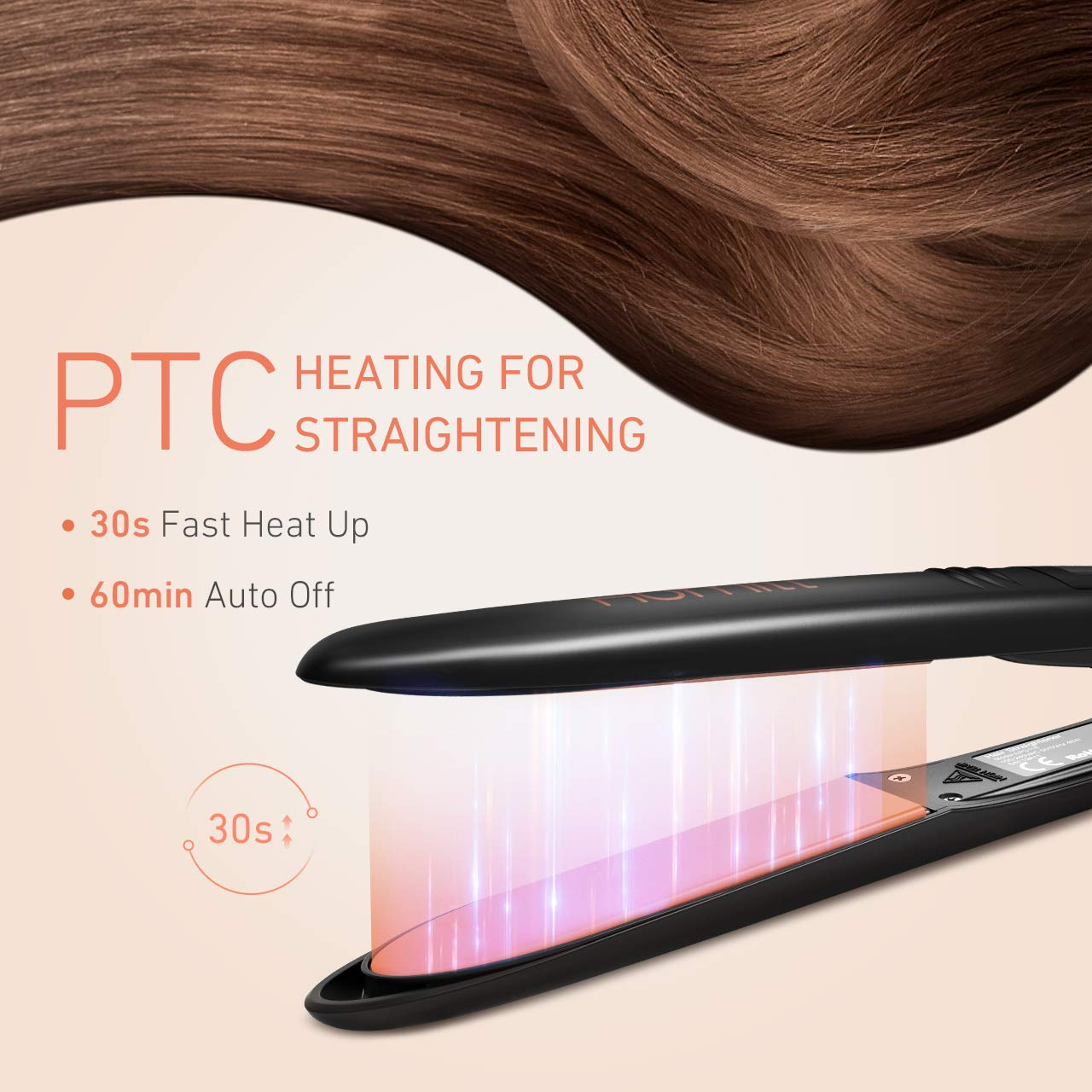 Hair Straighteners, 30S Travel Flat Iron with Glove & 130℃-230℃ & Auto Shut-Off & Worldwide Dual Voltage & Digital LCD Display