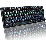 VENKIM ゲーミングキーボード メカニカルキーボード 青軸 87 キー LED バックライトモード 防水機 能付き Windows/Mac OS対応 (ブラック)