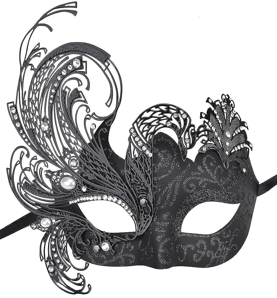 Coxeer Womens Masquerade Mask Swan Halloween Venetian Mask Metal Filigree Mask Z150208B1OQS151