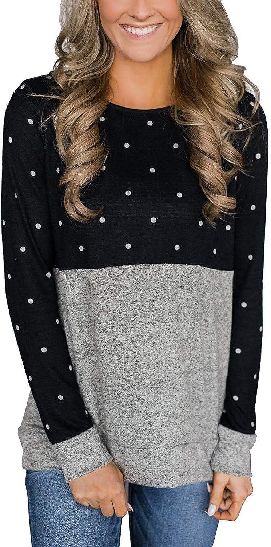Top Take Womens Polka Dot T Shirts Long Sleeve Crew Neck Winter Sweaters Tops