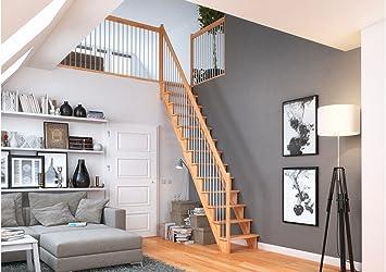 Dolle de ahorro de espacio Escaleras Lyon, haya, recto, madera de metal barandilla recta: Amazon.es: Bricolaje y herramientas
