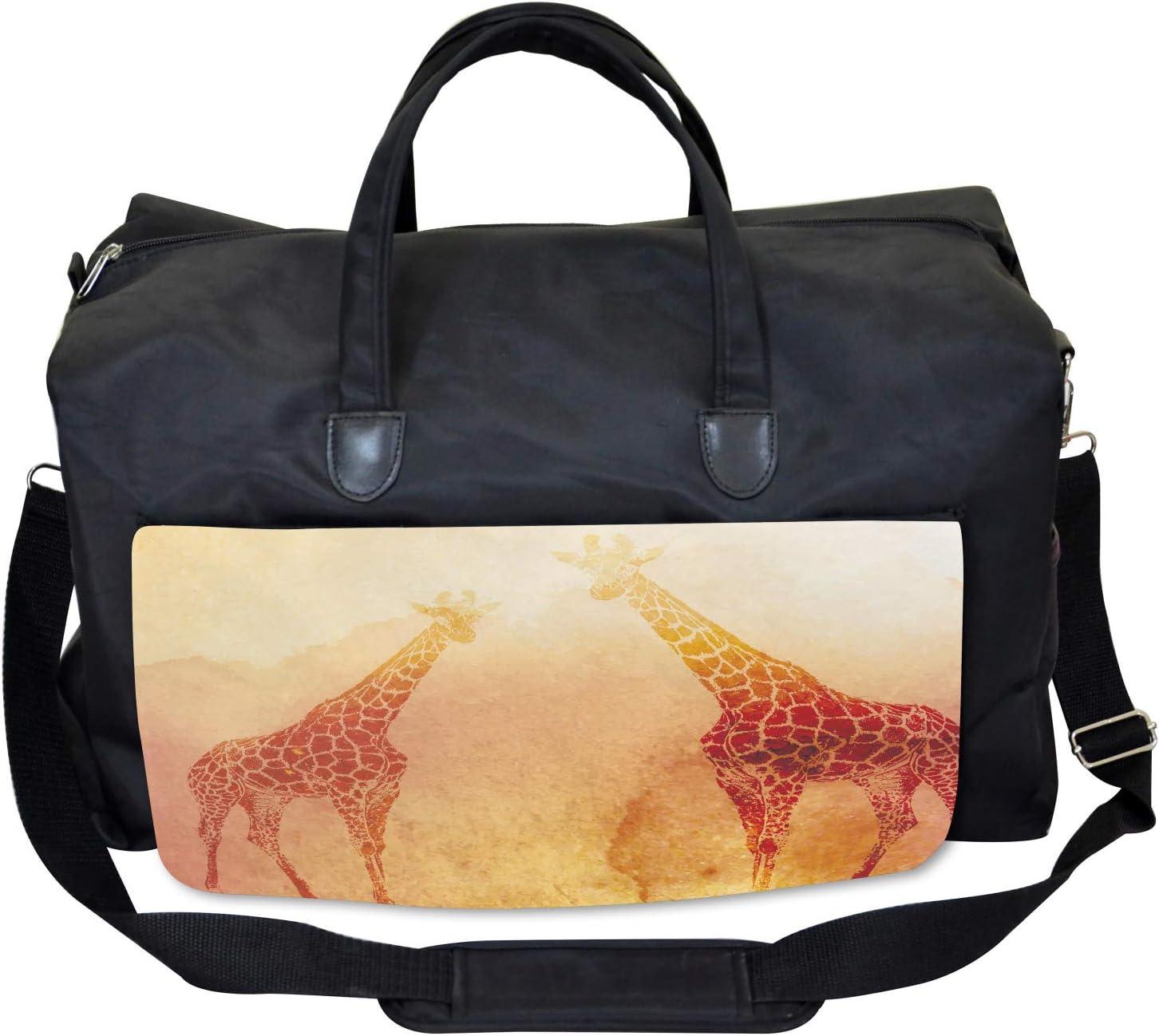 Ambesonne Orange Gym Bag Tropic African Giraffes Large Weekender Carry-on