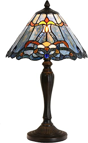 Bieye L10683 Baroque Tiffany Style Stained Glass Table Lamp Night Light with 12 Inch Wide Blue Lampshade for Bedside Bedroom Living Room, 20 inch Tall