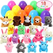 18 PACK Prefilled Easter Eggs with Animal Plush,Surprise Plastic Easter Eggs Filled Stuffed Toys for Kids Easter Basket Stuf