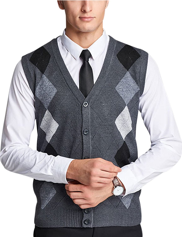 Yeokou Men's V Neck Wool Cashmere Sleeveless Button Down Sweater ...