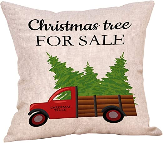 Softxpp Christmas Tree for Sale Vintage Red Truck with Trees Throw Pillow  Cover Rustic Farmhouse Style Winter Holiday Decor Cushion Case Decorative  ...