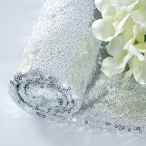 Shinybeauty Pailletten Stoff 1 Yard Material Stoff Glitter Stoff Von Yard Sewing Stoff Material Für Hochzeitsfeier Dekoration Silber 1 Yard Küche Haushalt