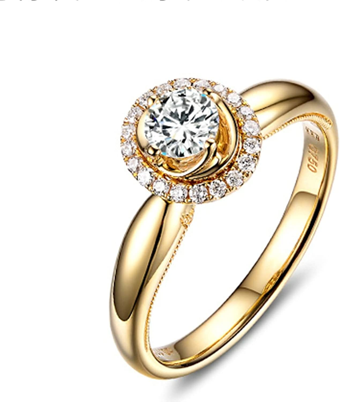 Daesar Anillo Personalizado 18K Oro Kilates Anillo Diamante Solitario Anillo Mujer Anillo 0.2ct Quilates Anillo de Diamante Anillo Quilates Anillo Oro