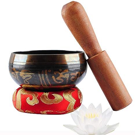 Cuenco tibetano para meditación budista, con mazo y cojín de ...