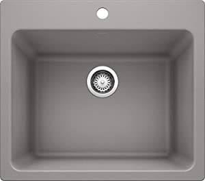 "BLANCO, Metallic Gray 401924 LIVEN SILGRANIT Drop-In or Undermount Utility Laundry Sink, 25"" X 22"""