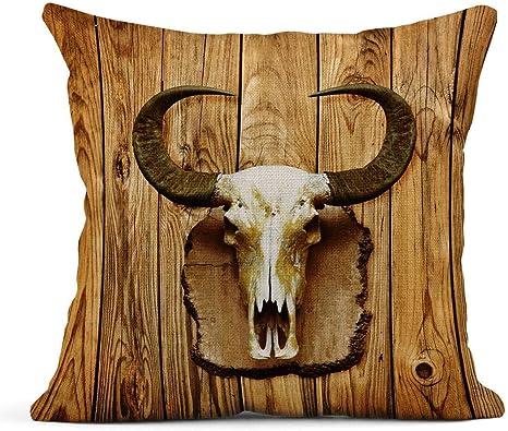 Cojín Vaca marrón Vaca Vieja Cráneo de búfalo colgado en el ...