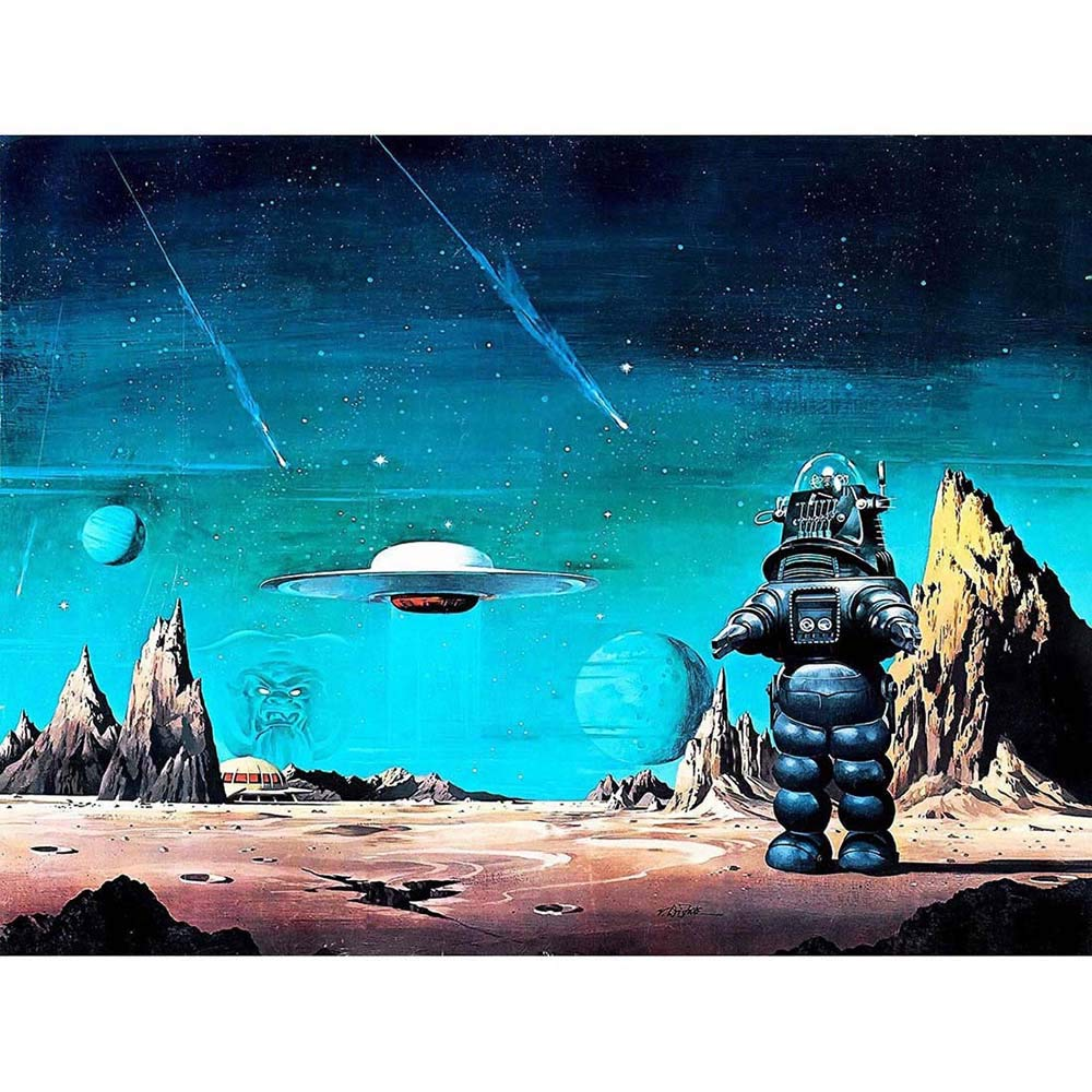 Wee Blue Coo Movie Film Painting Robby Robot Forbidden Planet Space Stars Sci Fi USA Unframed Wall Art Print Poster Home Decor Premium