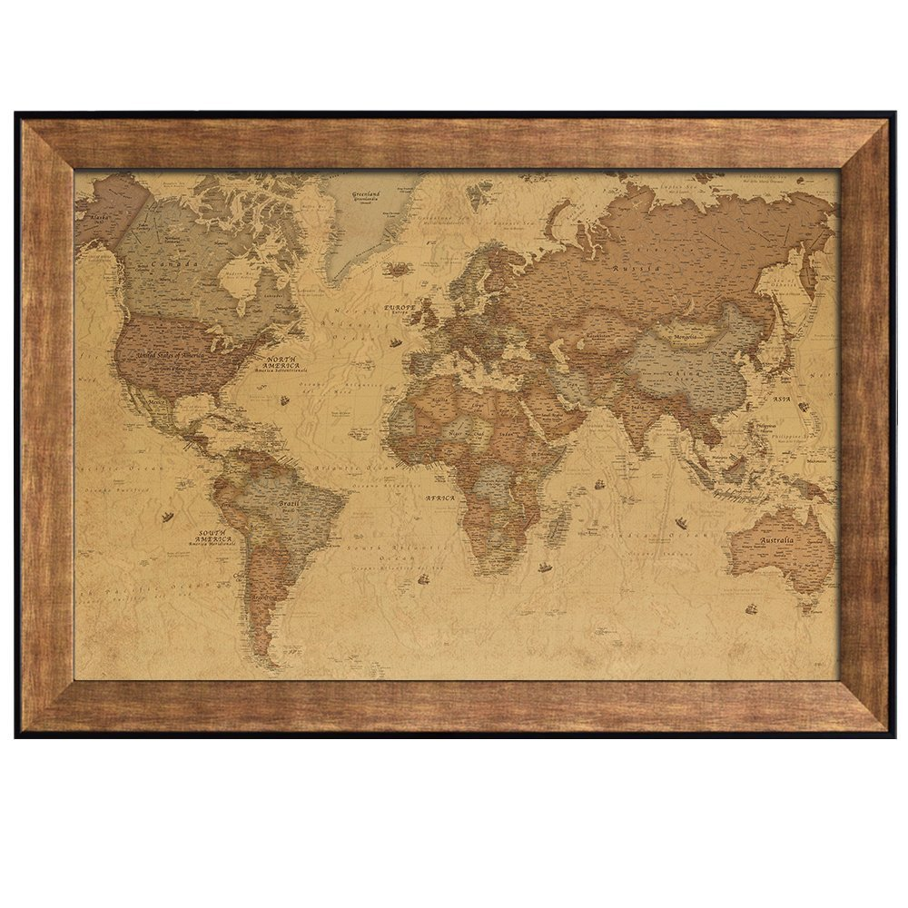 wall26 antique world map in a sepia color scheme framed art prints home decor 24x36 inches - World Map Framed Art
