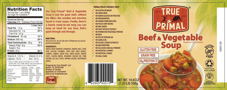 Amazon Com True Primal Beef Vegetable Soup 12 Pack Grain Free Gluten Free Paleo Grocery Gourmet Food