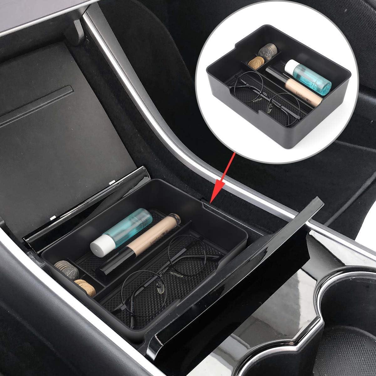 HGYB Organizer per Console Centrale del Vassoio Accessoies con Monete e Occhiali da Sole per Tesla Model 3