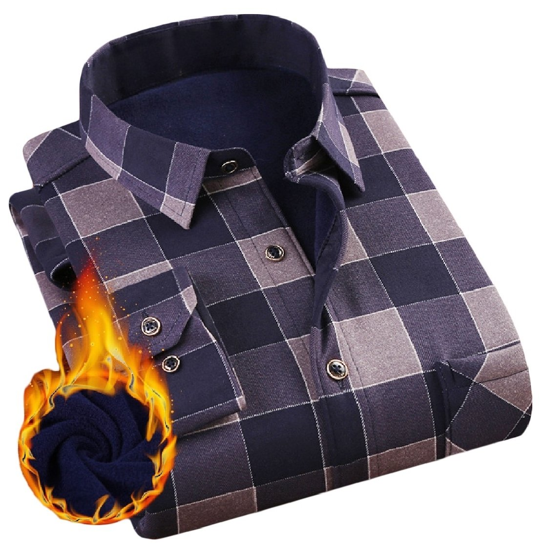 YUNY Mens Lapel Warm Long Sleeve Buttons Flannel Printing Thicken Dress Shirt AS13 2XL