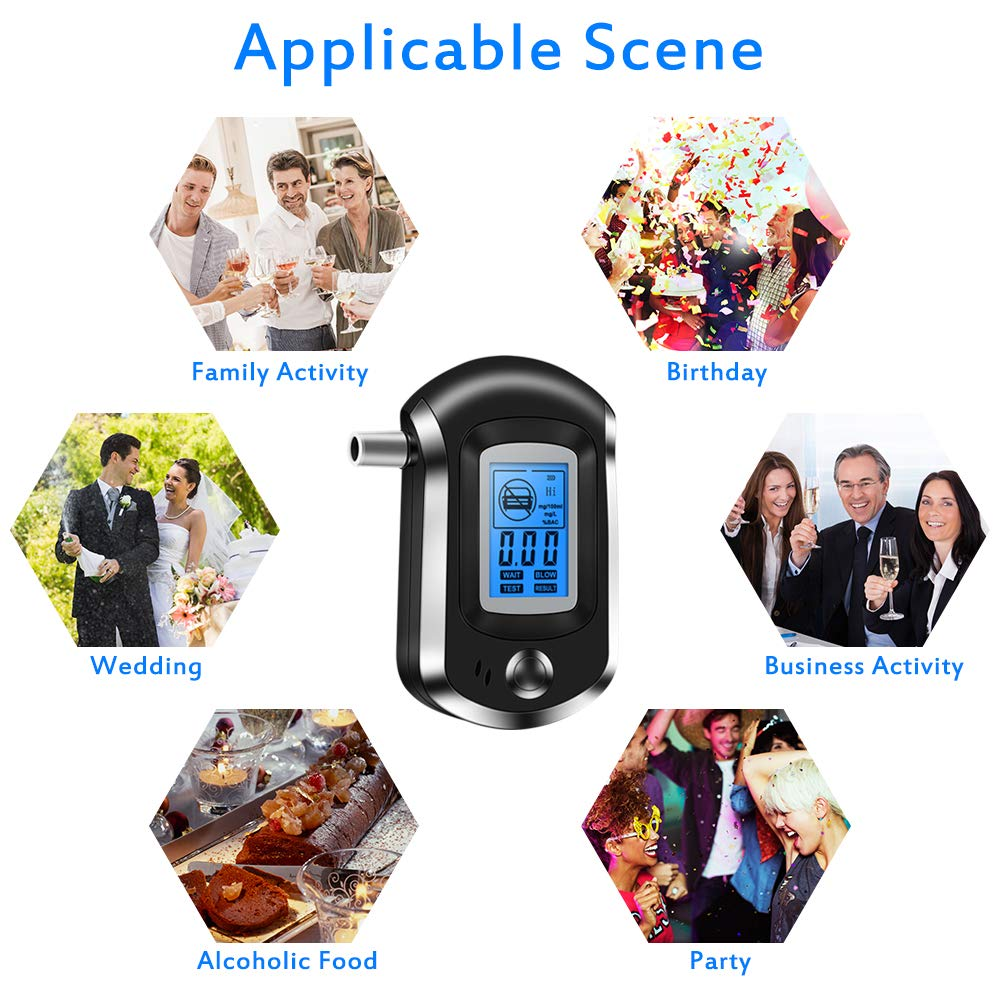 Nasharia Breathalyser Professional Breath Alcohol Meter Digital Alcohol Tester with Semiconductor Sensor Accurate Alcohol Analyzer Tester LCD Display Promilletester with 20 Mouthpieces