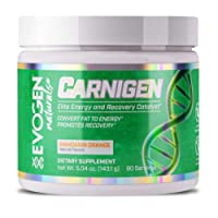 EVOGEN Natural CARNIGEN 143.1g/90 servings Mandarin Orange flavour | 4 Carnitine blend | Convert fat to energy | Promotes recovery | Elite Energy and Recovery Catalyst | Hany Rambod Pre-contest prep