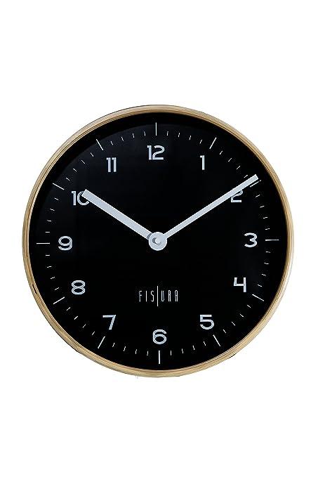 Fisura CL0456 Reloj Woody Pared 30cm Negro Redondo Madera y Cristal Silencioso Diseño Original