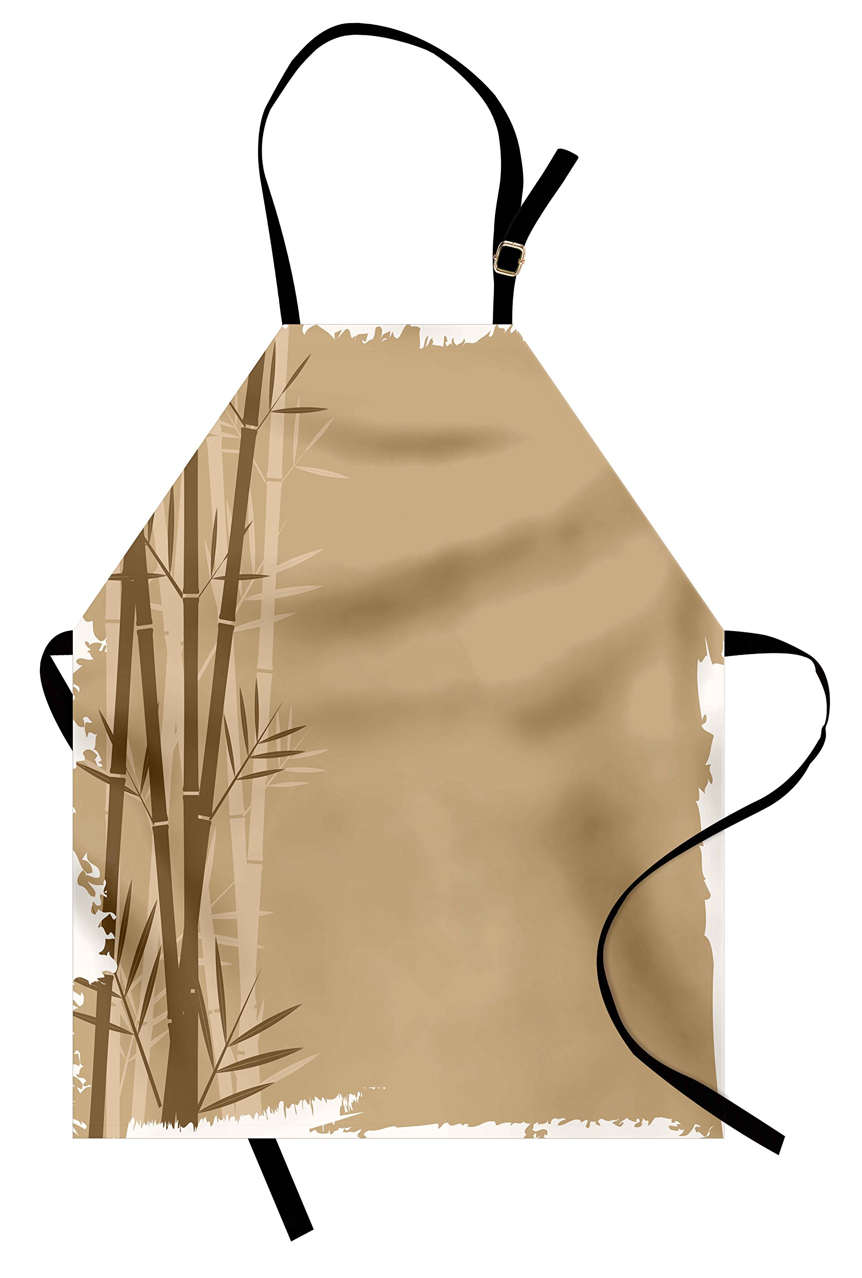 Lunarable Camel Color Apron, Exotic Bamboo Plant with Grungy Look Zen Spa Feng Shui Theme Asian Nature, Unisex Kitchen Bib Apron with Adjustable Neck for Cooking Baking Gardening, Camel Brown