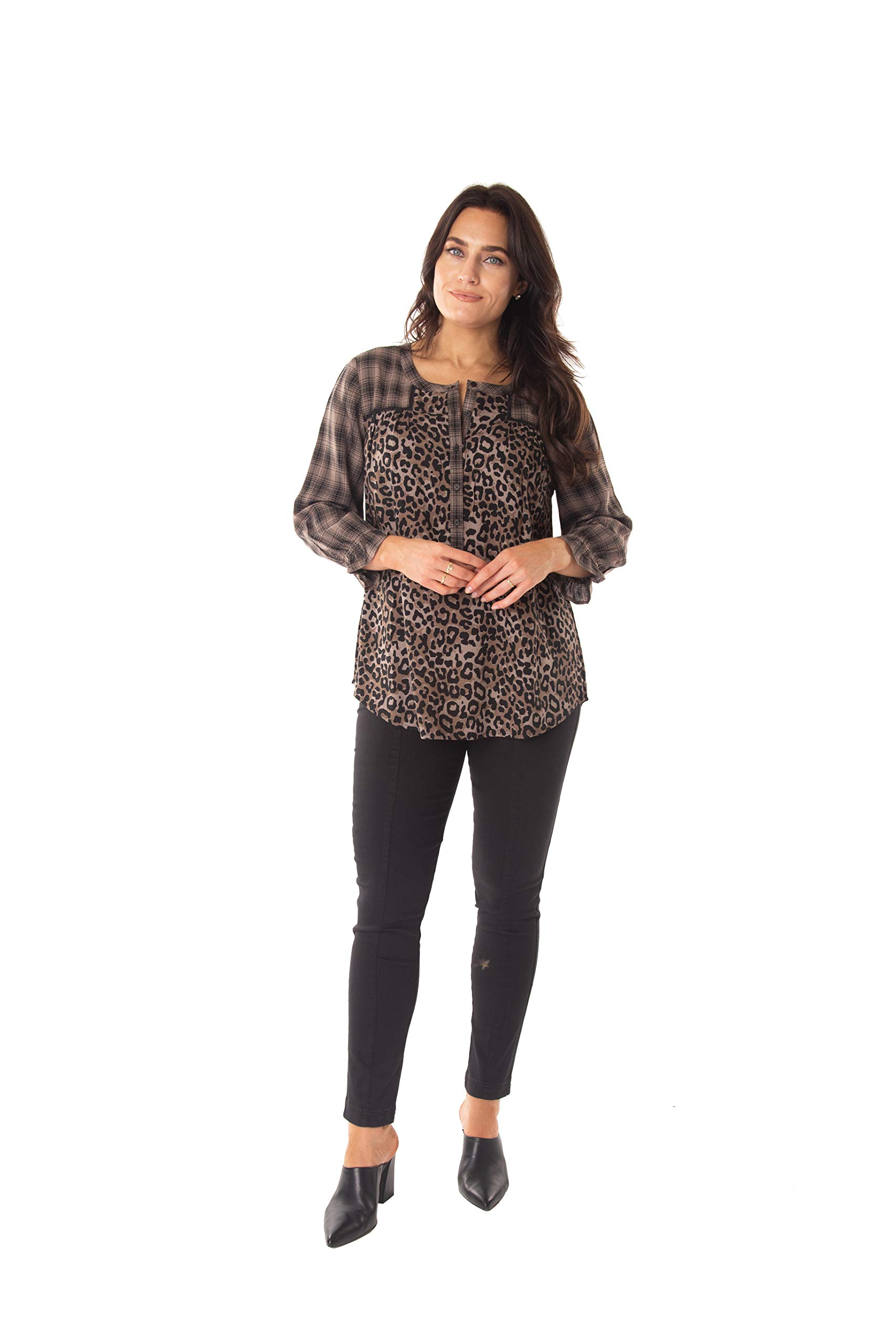 INTRO. Women's 3/4 Sleeve Tuscan Truffle Mixed Plaid and Cheetah Print Scoop Neck Button Down Shirt Size Plus 3X by INTRO.