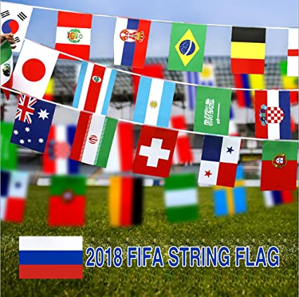 dce4b3dd346 Amazon.com  Ode-Rin 2018 World Cup Russia Soccer World Cup Top 32 Teams  Flags String Banner Bunting