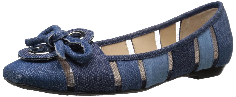 J.Renee Women's Edie Ballet Flat B0171CY32A 7.5 N US|Blue Denim Mul