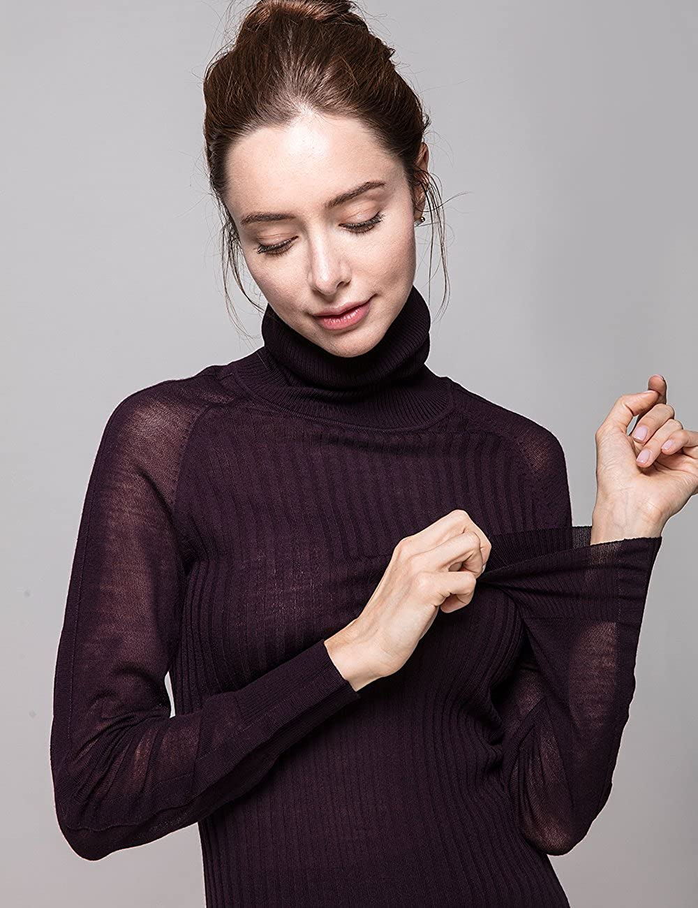 Cas Lady Womens Pure Merino Wool Classic Knit Top Lightweight Turtleneck Sweater Long Sleeve Pullover