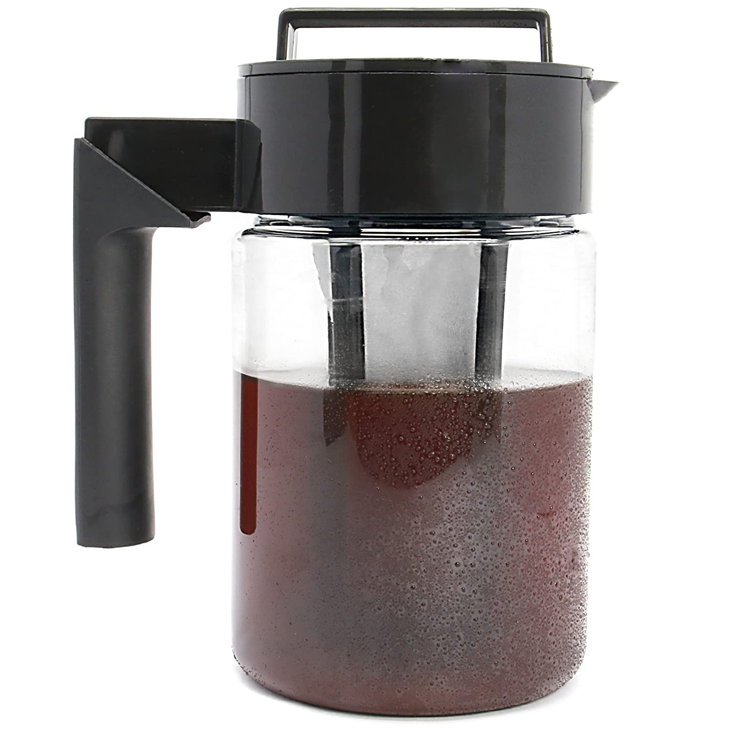 Iced Tea and Coffee Maker | Cold Brew Fridge Stored Pitcher Filter for Water Infusion | Fine Mesh Quality Filter | Airtight Silicone Seal | M&W (900ml) Xbite
