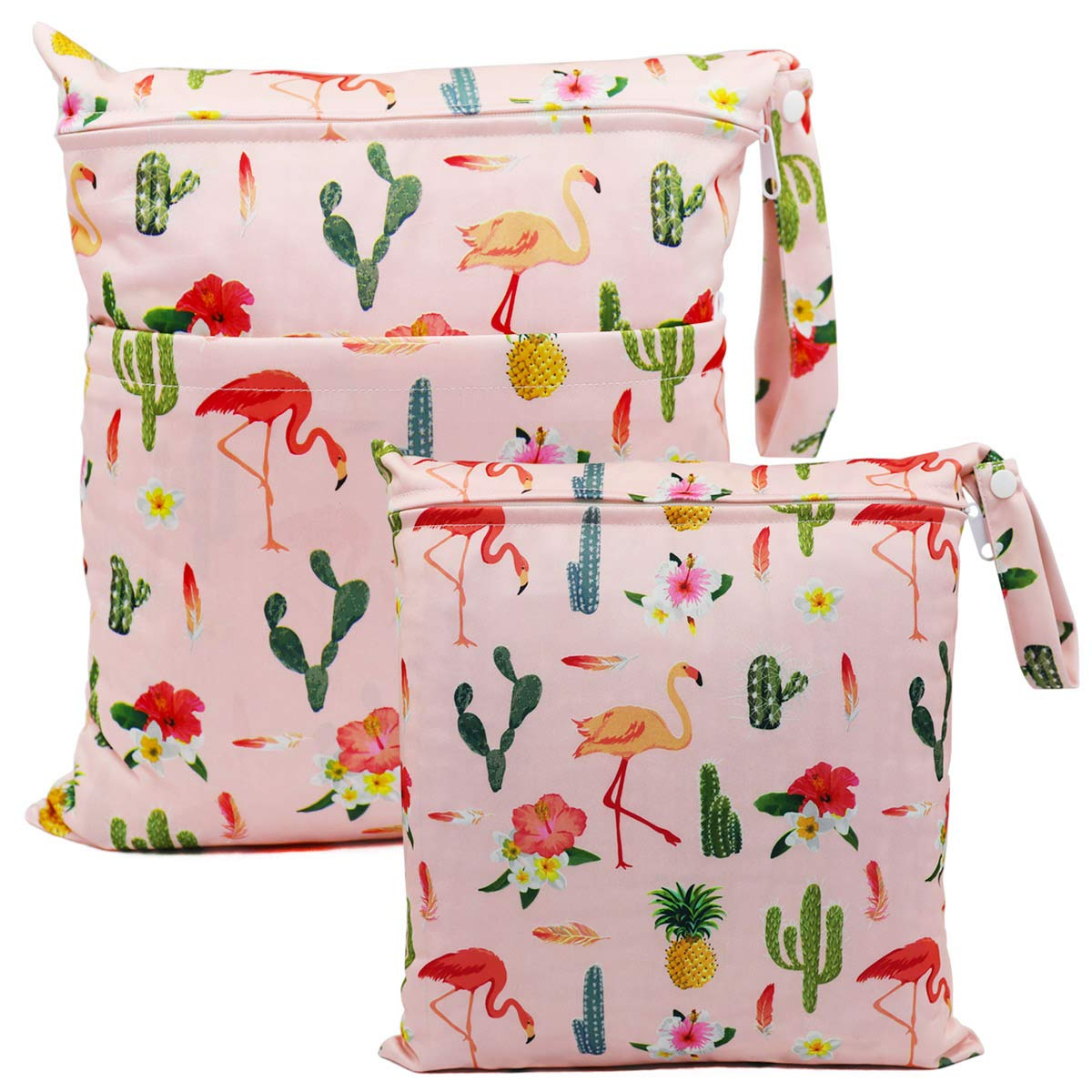 Waterproof Washable Reusable Zipper Bag ViVidLife Wet Bag 2 PCS Wet Dry Bags for Cloth Diapers Nappy Daycare Organiser Storage Bags