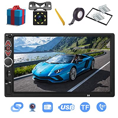 Double Din Car Stereo-7 inch Touch Screen double din car radio,Compatible with BT TF USB MP5/4/3 Player FM ,Support Backup Rear View Camera, Mirror Link ,Caller ID, Upgrade The Latest Version: Home Audio & Theater