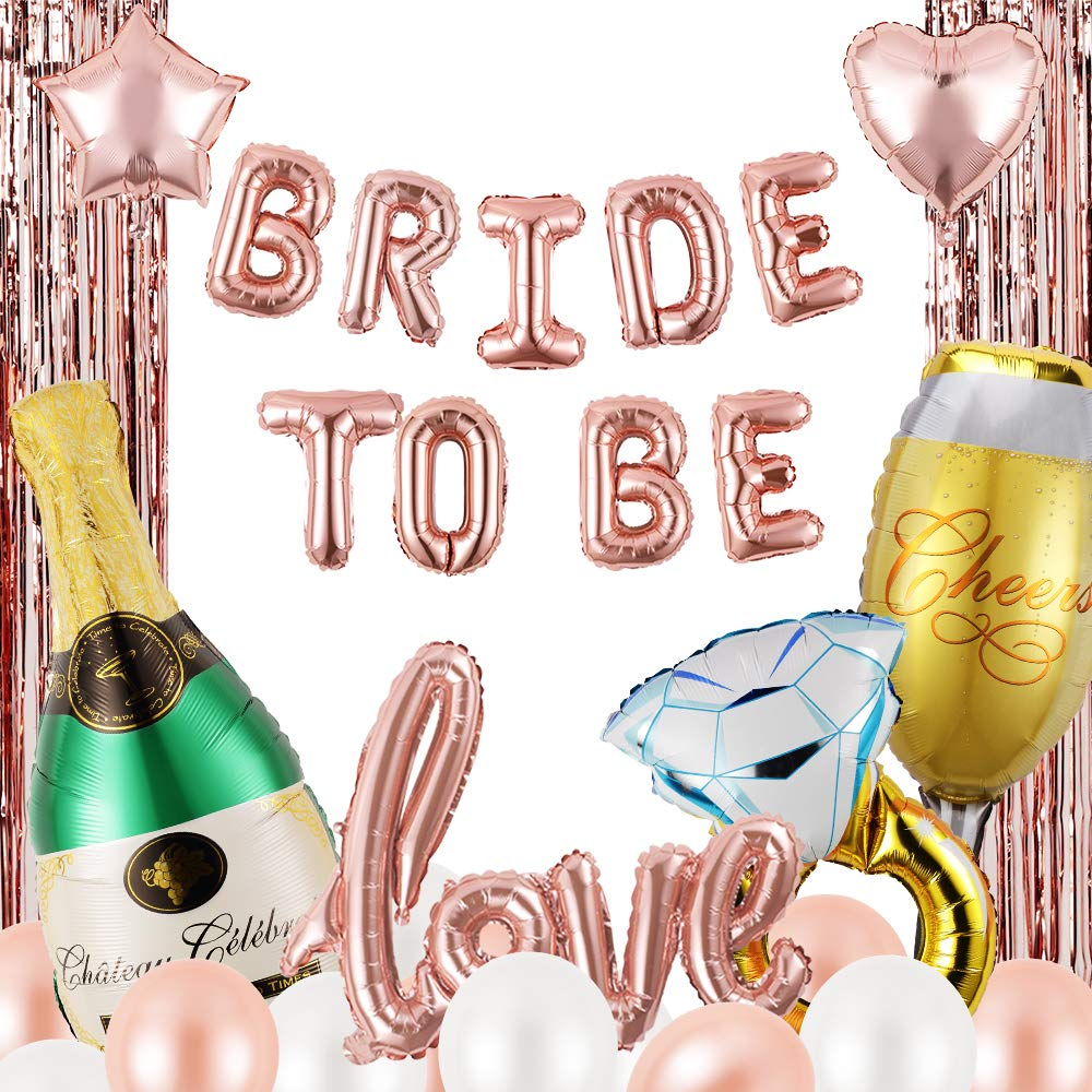 Bridal Shower & Bachelorette Party Decorations Kit,Hen Party Supplies,Bride to Be Rose Gold Balloon Set,32 Pcs.