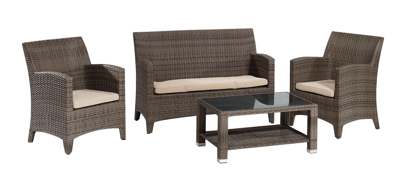 Gartenfreude Garnitur Polyrattan mit Granitplatte und Auflagen, Aluminiumgestell, Cappuccino, 4-teilig