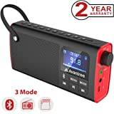 Avantree 3-in-1 Portable FM Radio with Bluetooth Speaker and SD Card Player, Auto Scan and Save, LED Display, Rechargeable Battery - SP850