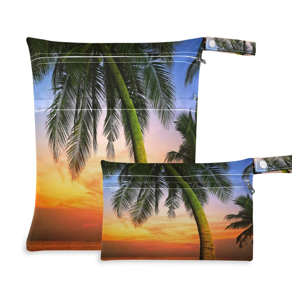 Ombra Waterproof Wet Dry Bag 2 Pack Tropical Sea Beach Palm Tree Cloth Diaper Bag Organizer Pouch Set with Zipper Pocket Washable Wet Bag for Travel Hiking Swimsuit
