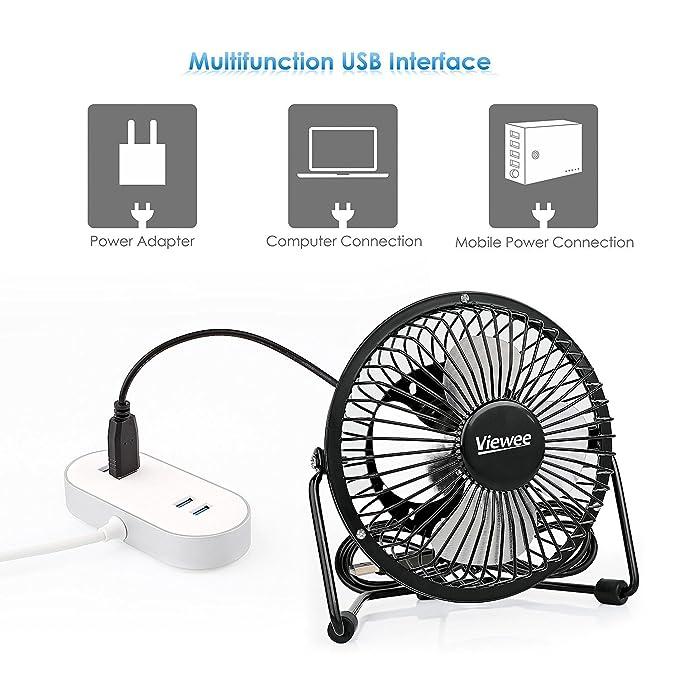 Tacklife Ventilador USB Ventilador de Escritorio o Mesa de 4 Pulgadas Portátil para PC Hogar Oficina o Viaje, Negro (Viewee) : Amazon.es: Electrónica