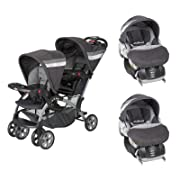 Baby Trend Sit N Stand Double Stroller w/Flex-Loc Car Seat and Car Base (Pair)