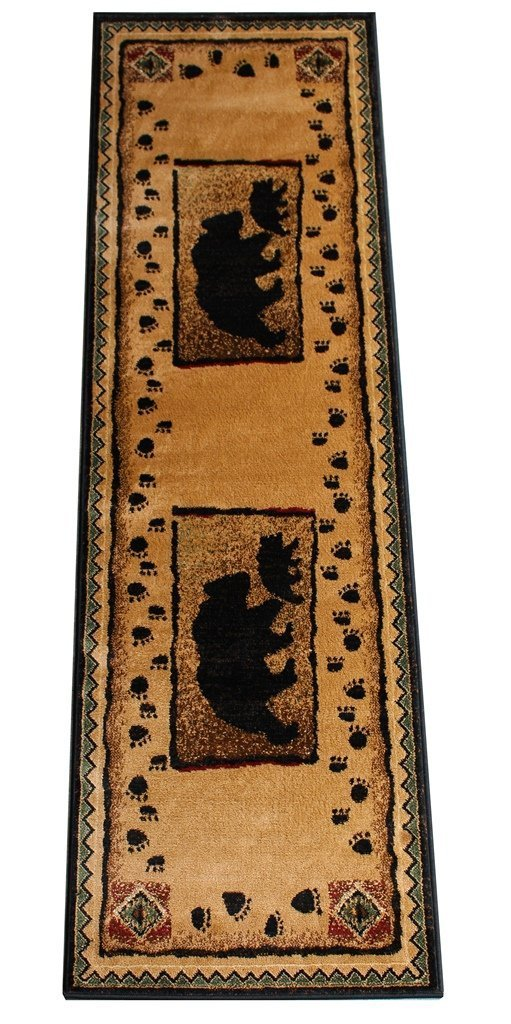 CR COUNTRY THEME BEAR BABY BEAR CUB CABIN LODGE AREA RUG TAN BROWN (2 Feet 2 Inch X 7 Feet 2 Inch Runner)