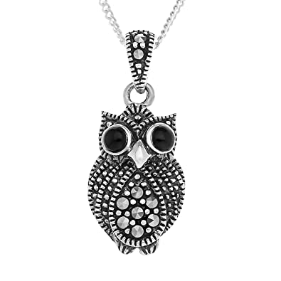 Ornami Sterling Silver Marcasite and Agate Owl Earring Drops 9DMBvL