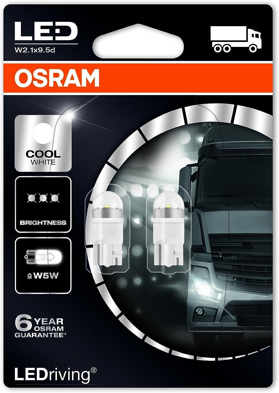 Blister Doppio Osram 2824CW-02B LEDriving LED Retrofit W5W per Illuminazione Interna Cool White 6000K 24V