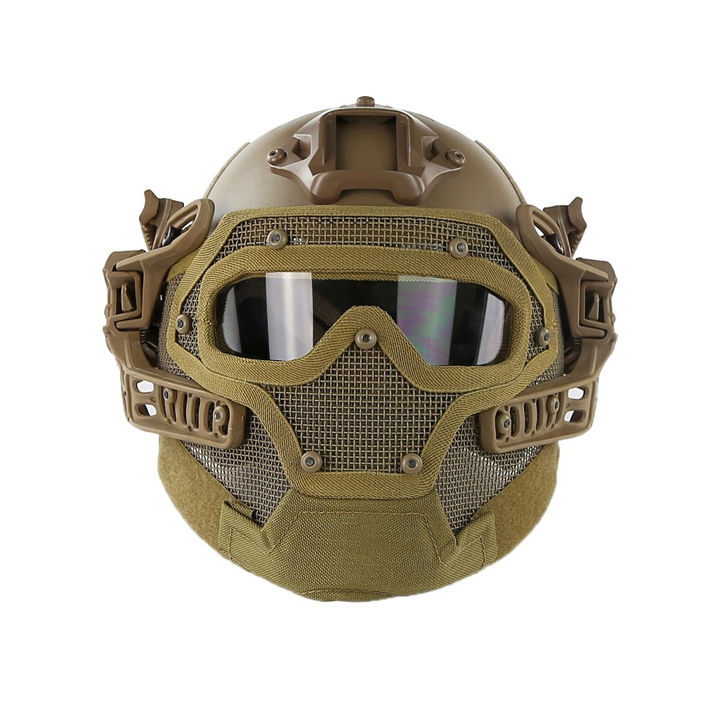 HYOUT Fast Tactical Helmet Combined with Full Mask and Goggles for Airsoft Paintball CS (T) by HYOUT
