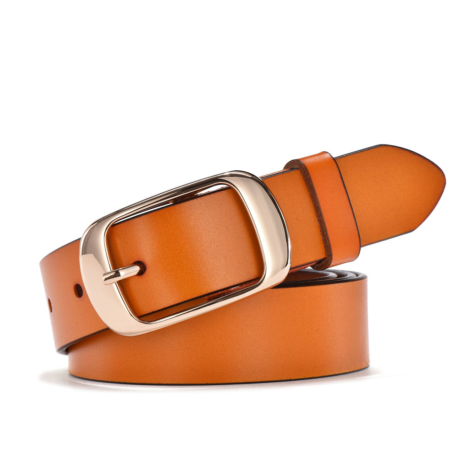 TUNGHO Simplicity Leather Belts For Women Polished Buckle Plus Size XXXL (L, Max pants size 41'', Golden Buckle/Brown)