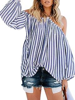 b03c831ce D Jill Women's Striped Off Shoulder Halter Blouse Long Sleeve Shirt Top  Blouse Loose