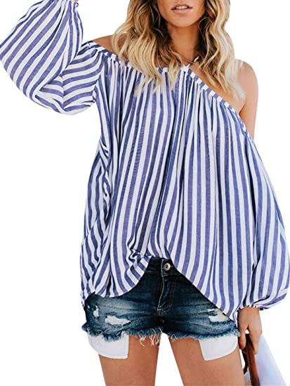 2992af3607e D Jill Women's Striped Off Shoulder Halter Blouse Long Sleeve Shirt Top  Blouse Loose White and