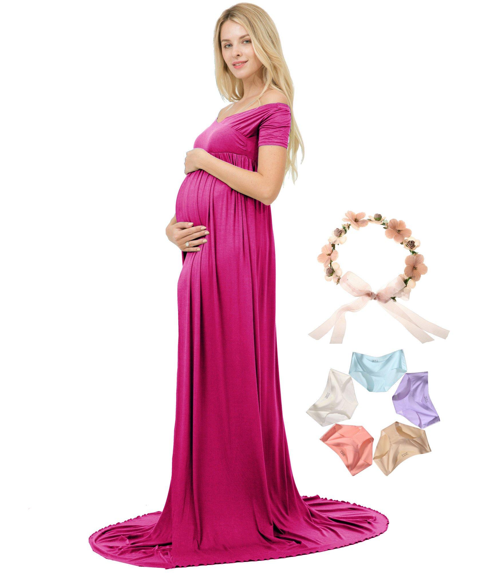 Photoshoot Maternity Dress V-Neck Short Sleeve Off Shoulder Photography MaxiGown (Magenta)